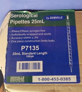Denville Scientific 25ml Standard Length Serological Pipettes 100ct P7135