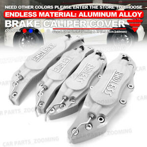 Metal Endless Universal Style Brake Caliper Cover Front Rear 4x Silver 10 5 Wl1