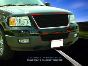 Black Billet Grille Grill Combo Insert For Ford Expedition 2003 2004 2005 2006