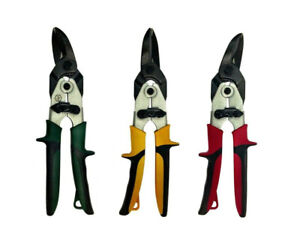 3 Pieces Premium Aviation Tin Snips Set Left Right Straight Cutting Blades Usa