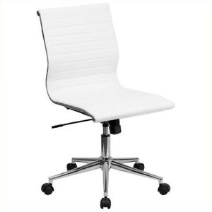 Flash Furniture Armless Upholstered Office Chair In Off White