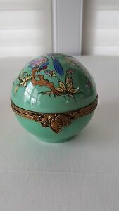 Rare Caron France Enamel Perfume Casket Perfume Bottles With Funnel