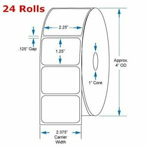 24 Rolls Of 1000 2 25 X 1 25 Direct Thermal Shipping Labels Zebra Eltron Lp2824