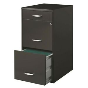 Filing Cabinet File Storage Hirsh Soho 3 Drawer In Charcoal Transitional