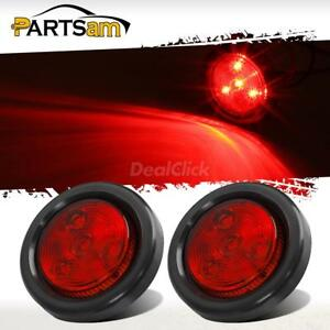 2pcs 2 Red 4 Led Round Side Marker Led Clearance Tail Light 12v Truck Trailer