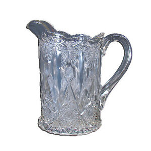 Pressed Glass Water Pitcher With Butterflies 1920 S