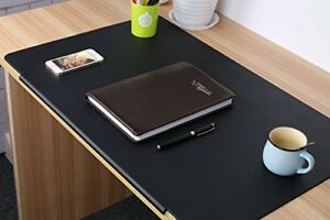 Desk Mat Artificial Leather Laptop Writing Pad Rectangular Home Office Black New