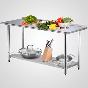 72 x30 Work Prep Table Stainless Steel With Backsplash Kitchen Restaurant