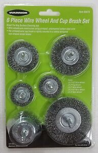 6pc Wire Brush Set 1 4 Shank Power Drill Wheel Cup Deburr Remove Rust Crimped