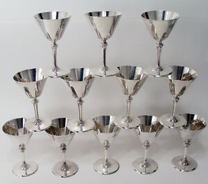 Faneuil By Tiffany Sterling Silver 12 Cocktail Martini Cups Mono