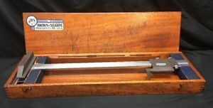 Brown Sharpe 586 Vernier 20 Gage Height Caliper In Mahogany Case N 98951 b