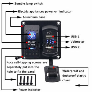 2in1 Marine Rocker Switch Panel Dual Usb Charger Voltmeter Led Light Car Boat Us
