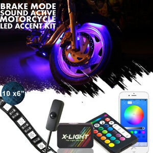 10pc Motorcycle Led Under Glow Light Kit Multi color Neon Strip Blutooth Control