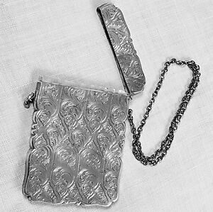 Nathaniel Mills Engraved Card Case English Birmingham 1849 In Sterling Silver