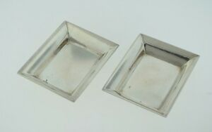 Set Of 2 Stieff Sterling Silver Rectangle Nut Candy Dish Butter Pat 048 W