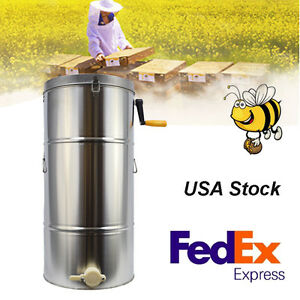 2 Frame Safty Use Stainless Steel Bee Honey Extractor Honeycomb Drum Beekeeping