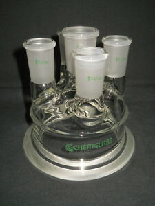 Chemglass 100mm Schott 24 40 29 42 5 neck Reaction Vessel Lid With 10 Side Neck