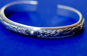 Antique Chinese Pure Silver Dragon Bracelet Signed Circa 1890 1900s