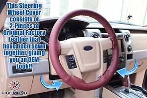 2010 2011 Ford F 150 King Ranch Leather Steering Wheel Cover W needle