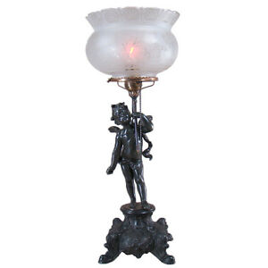 Gas Portable Table Lamp With Angel And Etched Crown Shade 1880 S