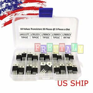 10 Value 50pcs Transistor Mosfet To 220 Assortment Npn Pnp Diy Kit