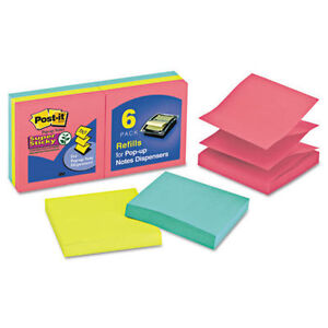 3 Packs Of 6 Stacks Post it Super Sticky Jewel Pop Pop up Refill