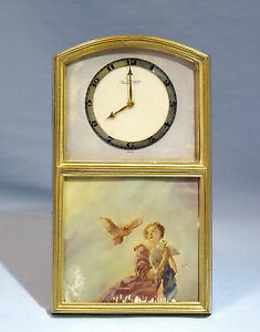 Swiss Gilt Bronze Mechanical Easel Clock Painted Plaque Girl Doves La Violeta