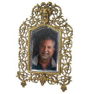 Solid Bronze Table Top Mirror With Bacchus Head 1880 S