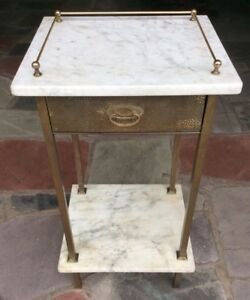Vtg Austrian Arts Crafts Secessionist Wmf Hoffmann Hammered Brass Marble Table