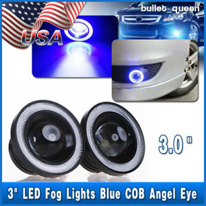 2x 3inch 3200lm Led Projector Fog Light Round Blue Angel Eye Halo 4x4 Atv Truck