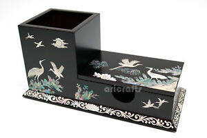 Mother Of Pearl Wood Business Card Pencil Case Nacre Pen Holder Cup For Teacher