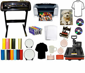 5in1 Heat Press 24 Metal Vinyl Cutter Plotter printer refil Ink Pu tshirt Bundle