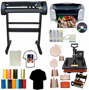 8in1 Combo Heat Press 24 Laser Point Metal Vinyl Cutter Plotter printer ciss pu