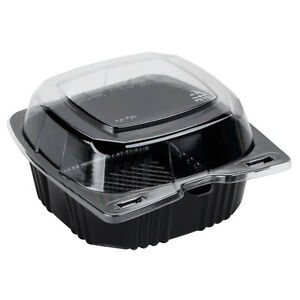 Polar Pak 29567 5 X 5 Pet Black And Clear Hinged Take out Container 500 case