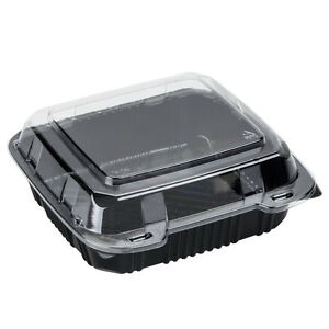 Polar Pak 29588 8 X 8 Pet Black And Clear Hinged Take out Container 200