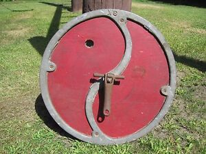 Vintage Primitive Wooden Barrel Butter Churn Cover Lid 16 5 Diameter Red