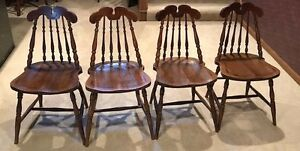 Four Vintage Oak Spindle Back Chairs See All Pics