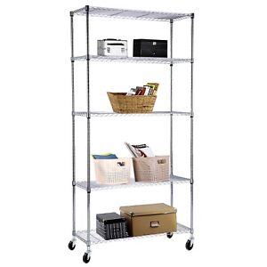 5 Tier Shelving Rack 60 x30 x14 Chrome Wire Heavy Duty Steel Shelf Adjustable