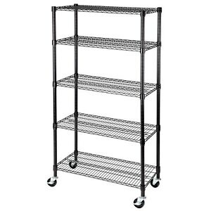 5 Tier 60 x30 x14 Shelving Rack Heavy Duty Layer Wire Steel Shelf Adjustable