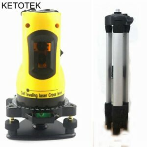 Laser Level 2 Red Cross Lines 360 Degree Rotary Self Leveling Tripod