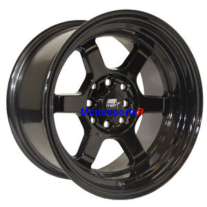 Mst Wheels Time Attack Rims 15 X 8 0 Black 4x100 4x114 3 Old School Te37 Style