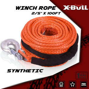 X Bull 2 5 X100ft 23000lbs Synthetic Winch Cabe Rope Atv Recovery Orange 4wd
