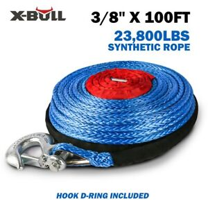 X Bull 2 5 X100ft 23000lbs Synthetic Winch Rope Blue Recovery 4wd Atv