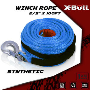 X Bull 2 5 X100ft Synthetic Winch 23000lbs Rope Recovery Blue Atv 4wd