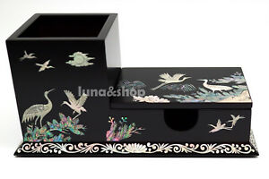 Mother Of Pearl Business Card Pencil Cup Inlay Lacquer Pencil Box Holder Case