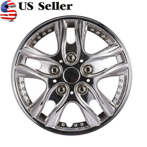 Us Stock 4pcs 12 Inch Car Vehicle Wheel Rim Skin Cover Silver Hubcap Wheel Cover