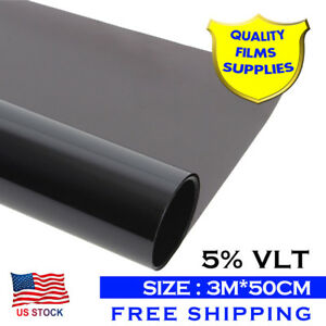 120 X20 5 Vlt Car Window Tint Film Auto House Glass Tingting Black Solar Film