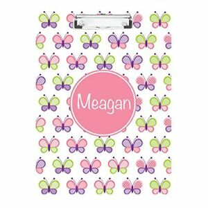 Butterflies With Pink Circle Monogrammed Double Sided Hardboard Clipboard
