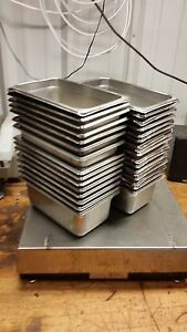 32 Steam Buffet Table Pans 10 1 2 X 6 3 8 X4 Stainless Steel Half Third Quarter