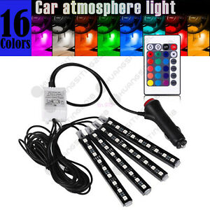 Glow Rgb Led Interior Car Lamp Kit Under Dash Foot Well Seats Inside Lighting Us
